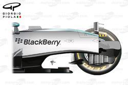 Vue de côté du châssis de la Mercedes W07