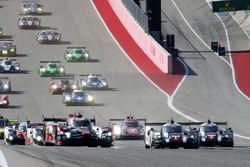 #1 Porsche Team, Porsche 919 Hybrid: Timo Bernhard, Mark Webber, Brendon Hartley; #8 Audi Sport Team