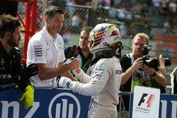 Lewis Hamilton, Mercedes AMG F1 celebra su tercera posición en parc ferme