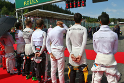 Jolyon Palmer, Renault Sport F1 Team as the grid observes the national anthem