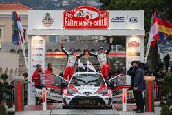 Tweede plaats Jari-Matti Latvala, Miikka Anttila, Toyota Yaris WRC, Toyota Racing
