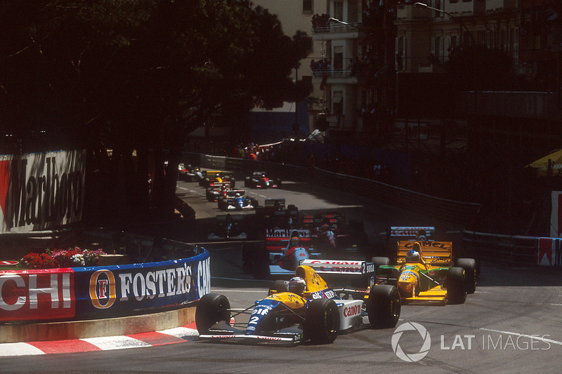 Start: Alain Prost, Williams FW15C Renault, Michael Schumacher, Benetton B193B Ford, Damon Hill, Wil