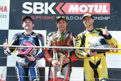 Podium: race winner Roberto Rolfo, Team Factory Vamag, second place Lucas Mahias, GRT Yamaha, third place Anthony West, West Racing