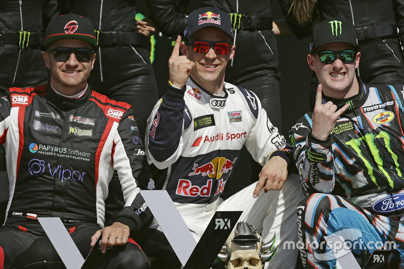 1. Mattias Ekström, EKS, Audi S1 EKS RX Quattro; 2. Timo Scheider, MJP Racing Team Austria, Ford Fie