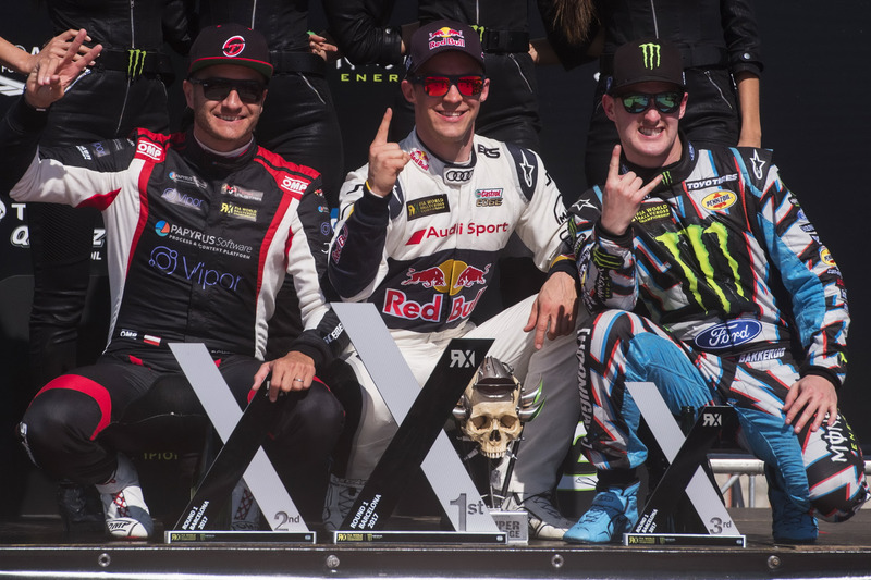 Podium: ganador, Mattias Ekström, EKS, Audi S1 EKS RX Quattro, segundo, Timo Scheider, MJP Racing Team Austria, Ford Fiesta ST, tercero, Andreas Bakkerud, Hoonigan Racing Division, Ford Focus RSRX