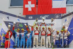 LMP2 Podium: first place Ho-Pin Tung, Oliver Jarvis, Thomas Laurent, DC Racing, second place Julien Canal, Bruno Senna, Filipe Albuquerque, Vaillante Rebellion Racing, third place Gustavo Menezes, Nicolas Lapierre, Matt Rao, Signatech