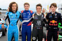 Race winner Robert Shwartzman, Josef Kaufmann Racing, Max Defourny, R-ace GP, Sacha Fenestraz, Josef Kaufmann Racing, Dan Ticktum, Arden Motosport