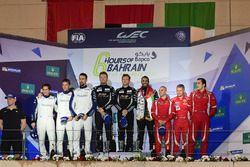 LMGTE Am Podium: second place #78 KCMG Porsche 911 RSR: Christian Ried, Wolf Henzler, Joël Camathias
