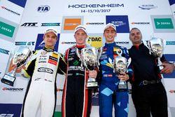 Podium: Race winner Joel Eriksson, Motopark Dallara F317 - Volkswagen, second place Lando Norris, Ca