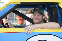Dale Earnhardt Jr. with Dale Earnhardt's rookie car