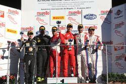Podio SGT3 Gara 1: al primo posto Malucelli-Cheever, Scuderia Baldini 27 al secondo posto Zampieri-A