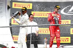 Podium: Race winner Lewis Hamilton, Mercedes AMG F1, second place Sebastian Vettel, Ferrari