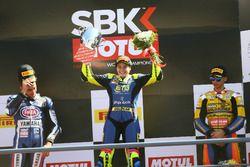 Podium: Race winner Ana Carrasco, Kawasaki, second place Alfonso Coppola, Yamaha, third place Marc G