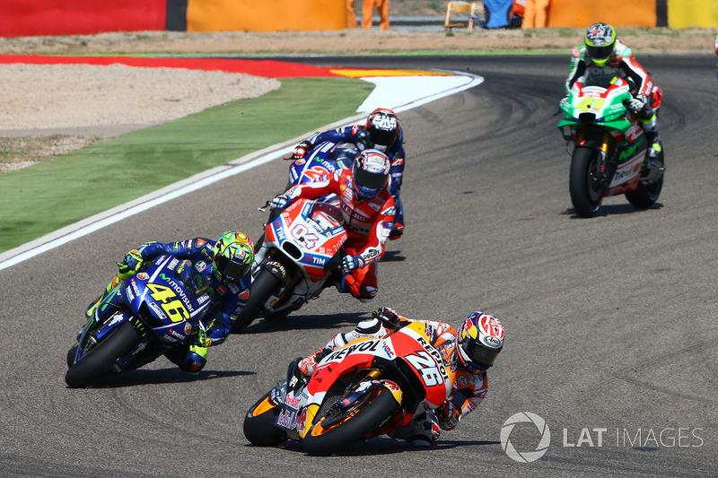 Podium di Aragon, konflik dengan Rossi
