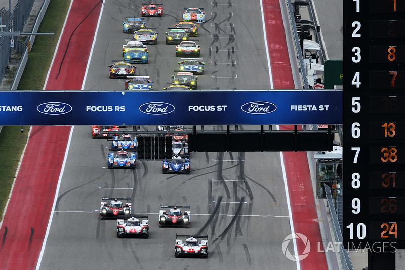 Partenza: #1 Porsche Team Porsche 919 Hybrid: Neel Jani, Andre Lotterer, Nick Tandy al comando