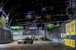 The safety car leads an out of position Daniel Ricciardo, Red Bull Racing RB13, Lewis Hamilton, Merc