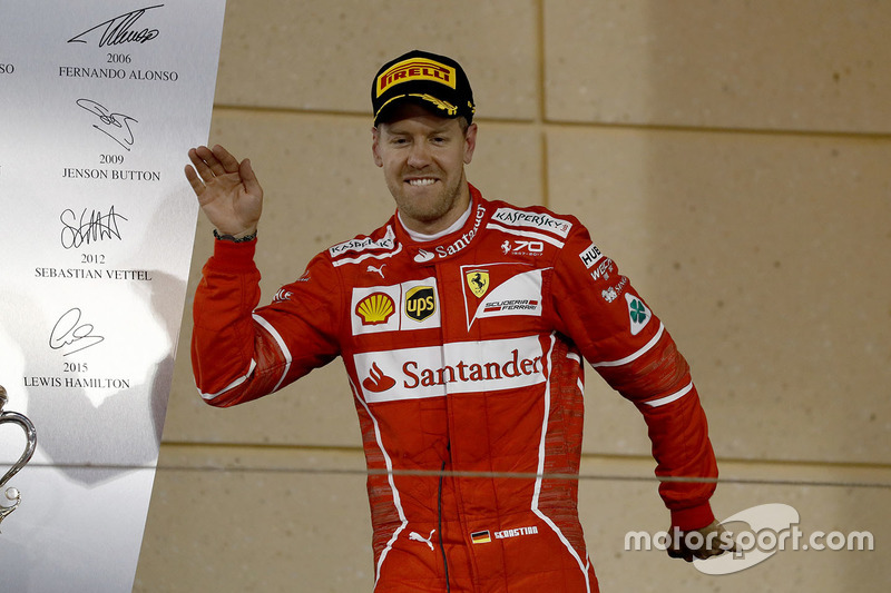 Podium : le vainqueur Sebastian Vettel, Ferrari