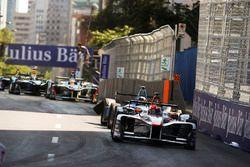 Loic Duval, Dragon Racing, leads Sébastien Buemi, Renault e.Dams, in his damaged car