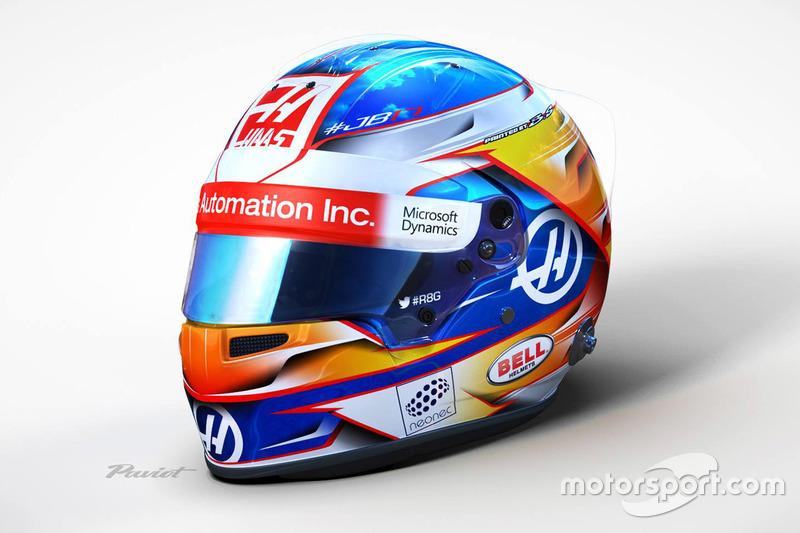 Il casco di Romain Grosjean, Haas F1 Team