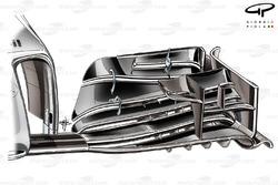 Le nouvel aileron avant de la McLaren MP4-29 (première version d'un design inspiré par Peter Prodromou)