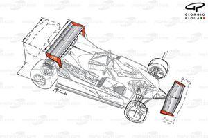 Ferrari 312T5 vleugels, Monaco GP