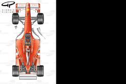 Vue de haut de la Ferrari F2003-GA avec de nouveaux déflecteurs