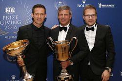 Sébastien Ogier, WRC kampioen, Fritz Enzinger, Vice President LMP1 Porsche Team, Andreas Seidl, Team