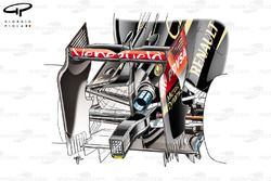 Lotus E22 rear end detail (depicts asymmetric exhaust layout, larger cooling aperture on left side of the car)