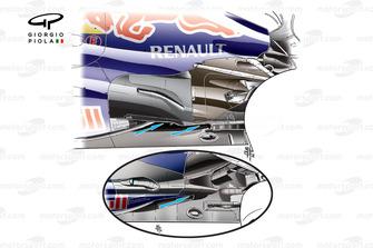 El Red Bull RB8 y los cambios en el sidepod y los escapes (dobles cruzados bajo el túnel en la nueva especificación)