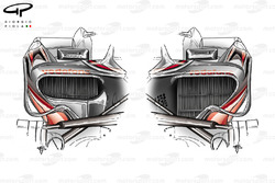 McLaren MP4-23 2008 sidepod comparison