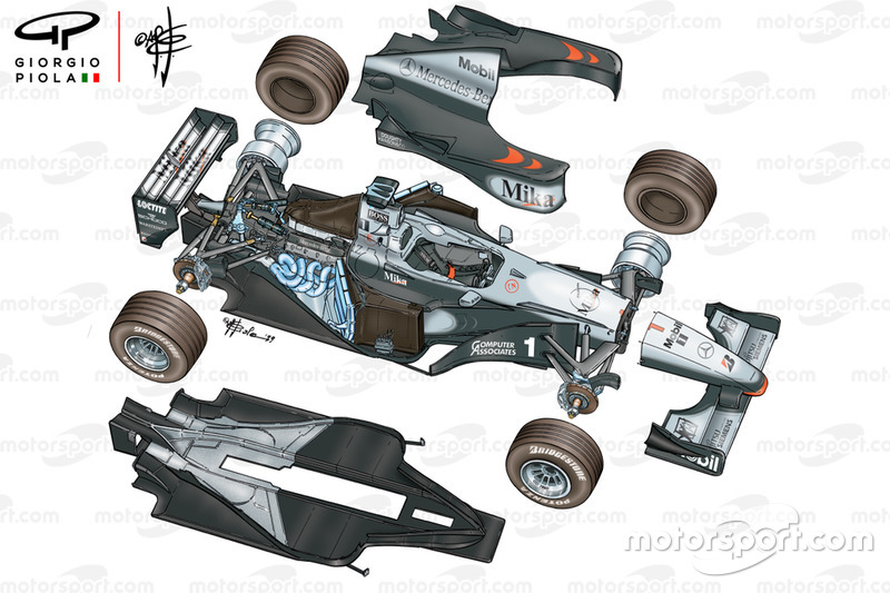 Vista detalla del McLaren MP4-14 1999