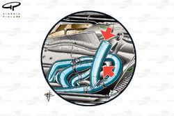 Ferrari F150 exhausts design, captioned