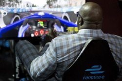 Basketball legend Shaquille O'Neal on the Formula E simulator