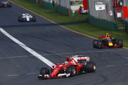 Kimi Raikkonen, Ferrari SF70H, leads Max Verstappen, Red Bull Racing RB13, and Felipe Massa, Williams FW40