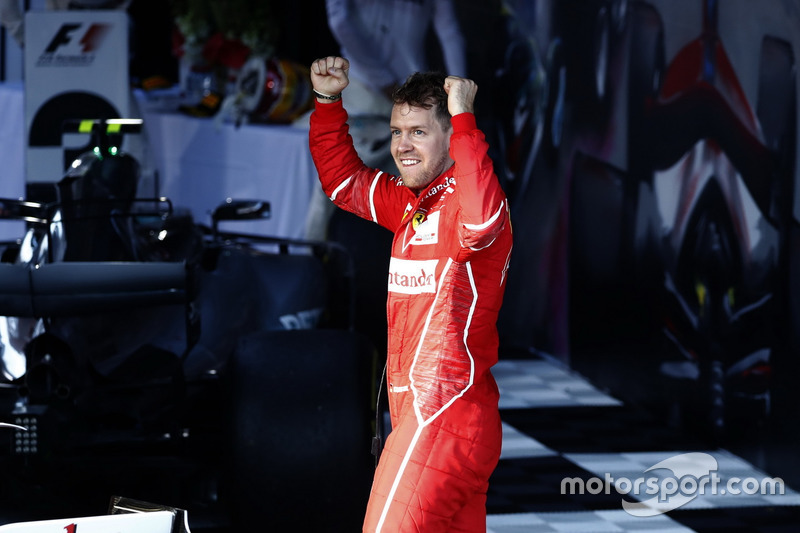 Sebastian Vettel, Ferrari SF70H, 1st Position, celebrates on arrival in Parc Ferme