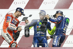 Podium: race winner Maverick Viñales, Yamaha Factory Racing, second place Andrea Dovizioso, Ducati T