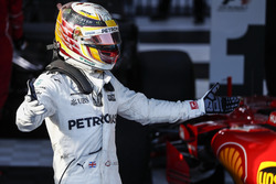 Lewis Hamilton, Mercedes AMG, 2nd Position, celebrates in Parc Ferme