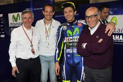 Claude Michy, French Grand Prix promoter, Renaud Lavillenie, pole vaulter champion and rider, Valentino Rossi, Carmelo Ezpeleta, CEO Dorna Sports