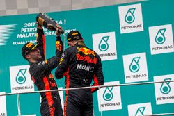 Daniel Ricciardo, Red Bull Racing and race winner Max Verstappen, Red Bull Racing celebrate on the p