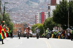 #42 Hero MotoSports Team Rally: CS Santosh; #8 Himoinsa Racing Team, KTM: Gerard Farrés; #87 Team Pe