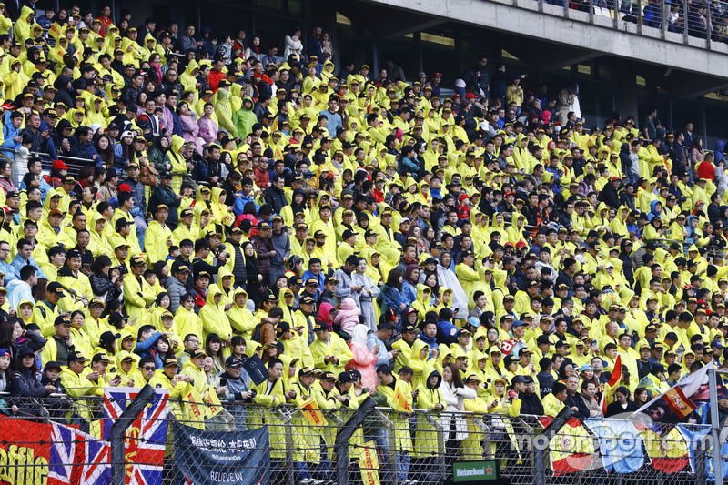 Yellow rain macs dominate the crowds in the grandstands