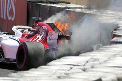 Marcus Ericsson, Alfa Romeo Sauber C37 crash