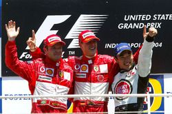 Podium: second place Rubens Barrichello. Ferrari, Race winner Michael Schumacher, Ferrari, third place Takuma Sato, BAR