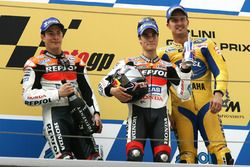 Podium: second place Nicky Hayden, Repsol Honda Team, Race winner Dani Pedrosa, Repsol Honda Team, third place Colin Edwards