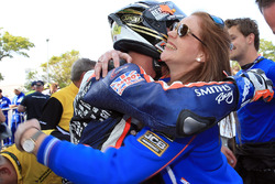 Peter Hickman is congratulated by team boss Rebecca Smith after winning the RL360º Superstock TT