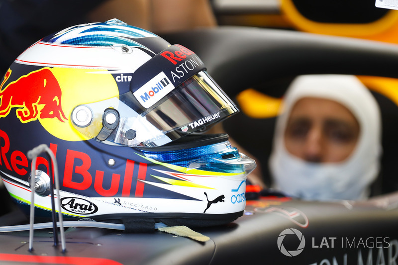 Helmet detail of Daniel Ricciardo, Red Bull Racing
