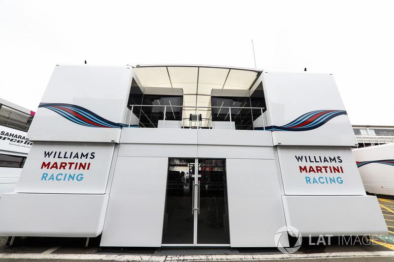 The Williams team's motorhome and hospitality area