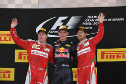 Podium: race winner Max Verstappen, Red Bull Racing, second place Kimi Raikkonen, Ferrari, third place Sebastian Vettel, Ferrari