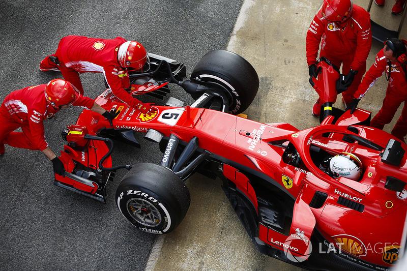 Sebastian Vettel, Ferrari, in pit lane
