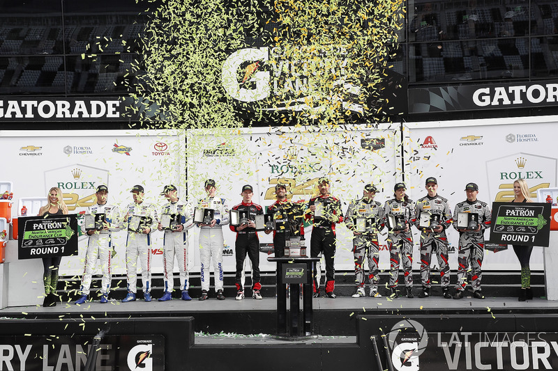 Tequila Patron North American Endurance Cup presentation, #66 Chip Ganassi Racing Ford GT, GTLM: Dirk Müller, Joey Hand, Sébastien Bourdais, #31 Action Express Racing Cadillac DPi, P: Eric Curran, Mike Conway, Stuart Middleton, Felipe Nasr, #86 Michael Sha